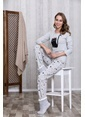 Lingabooms Taçlı Kadın 2'li Pijama Takım  Gri